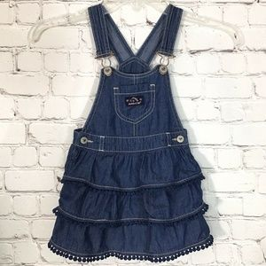 Jordache Denim Overall Dress Tiered Ruffled 2T